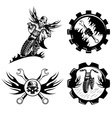 set of bikers theme emblems with skullflames and vector image