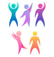 set of chain with rainbow people holding hands vector image