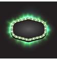 Shining green empty retro light frame banner vector image