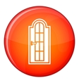 Arched wooden door with glass icon flat style vector image