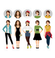 female model in different style clothes vector image
