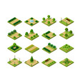 set of isometric urban parks city natural vector image