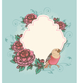 Vintage label with pink roses and bird vector image vector image
