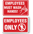 employees only and employees must wash hands signs vector image vector image
