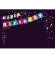 Happy Birthday Flags garland and confetti vector image