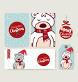 christmas card set holiday bear cartoon template vector image