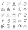 odontic doctor icons set outline style vector image