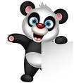 panda cartoon holding blank sign vector image