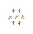 Orange-black basketball team icons vector image