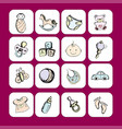 icons newborn baby itemsaccessories and toys vector image
