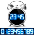 table clock with digital display and a set of vector image