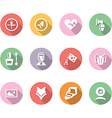 icon set with shadow different household objects vector image vector image