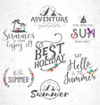 Summer Calligraphic Designs in Vintage Style vector image