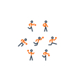 Orange-black basketball team icons vector image