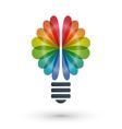 Rainbow brain and light bulb icon logo design vector image