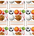 seamless background with sport equipments vector image