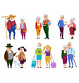 senior man and woman activities grandparents day vector image