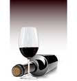 Red wine in a glass and bottle vector image vector image