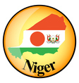 orange button with the image maps of Niger vector image vector image
