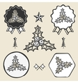 Christmas holly berry symbol emblem label vector image