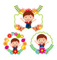 differents label cute girl happy flowers floral vector image