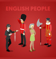 english people with guardsman isometric vector image