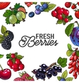 Frame of garden berries with round place for text vector image