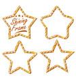 gold star set vintage shine lamp star vector image