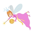 Tooth fairy with a magic wand and coin vector image