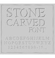 Stone Carved font Alphabet on rock plate Chips and vector image