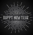 happy new year text show sunrays retro theme vector image
