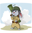 Cartoon bunny with bazooka vector image vector image