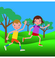couple of happy boy and girl running through the vector image