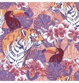 Tropical floral seamless background with Tiger vector image