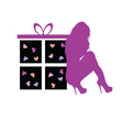 gift box with beauty girl vector image