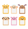Cute animals note set of scrapbook elements vector image