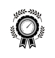 monochrome medal speedometer with olive branchs vector image