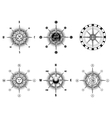 Vintage nautical or marine compass icons vector image