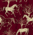 Vintage background with horses and trees vector image