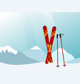 mountain landscape with red skiing equipment in vector image vector image