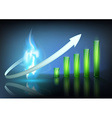 blue flame of natural gas and business graph vector image vector image