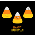 Candy corn set with funny faces Happy Halloween vector image