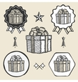 Gift box ribbon bow symbol emblem label collection vector image
