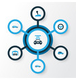automobile colorful icons set collection of vector image