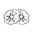sketch draw brain cartoon vector image