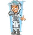 Cartoon pilot in cool white helmet vector image