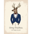 Hipster reindeer hand drawn in costard vector image vector image