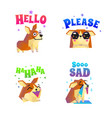 corgi stickers emoticon set vector image