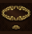 Vintage gold frame and detailed seamless pattern vector image