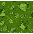 seamless pattern with a cup of tea vector image vector image